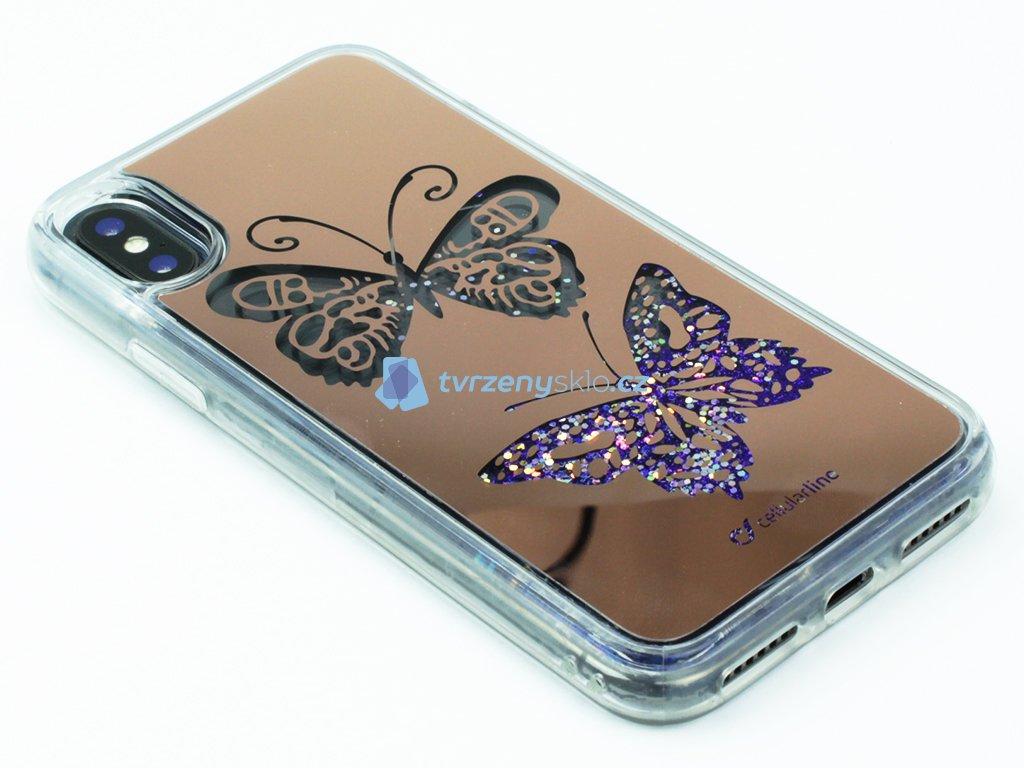 Gelové pouzdro Cellularline pro iPhone X, iPhone XS s motivem Motýl