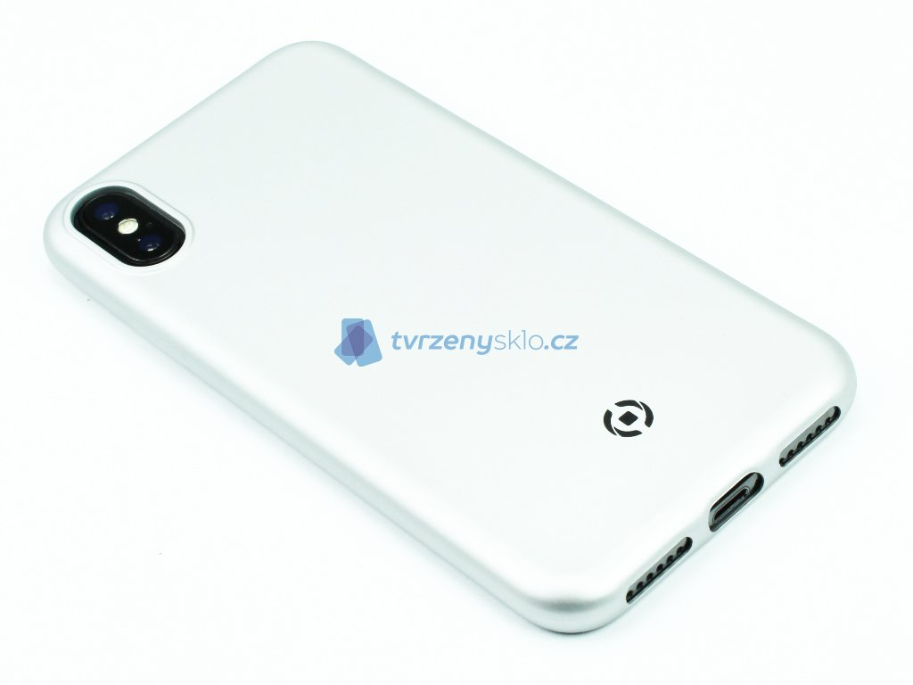 TPU pouzdro CELLY Softmatt pro iPhone X, iPhone XS Stříbrné 1