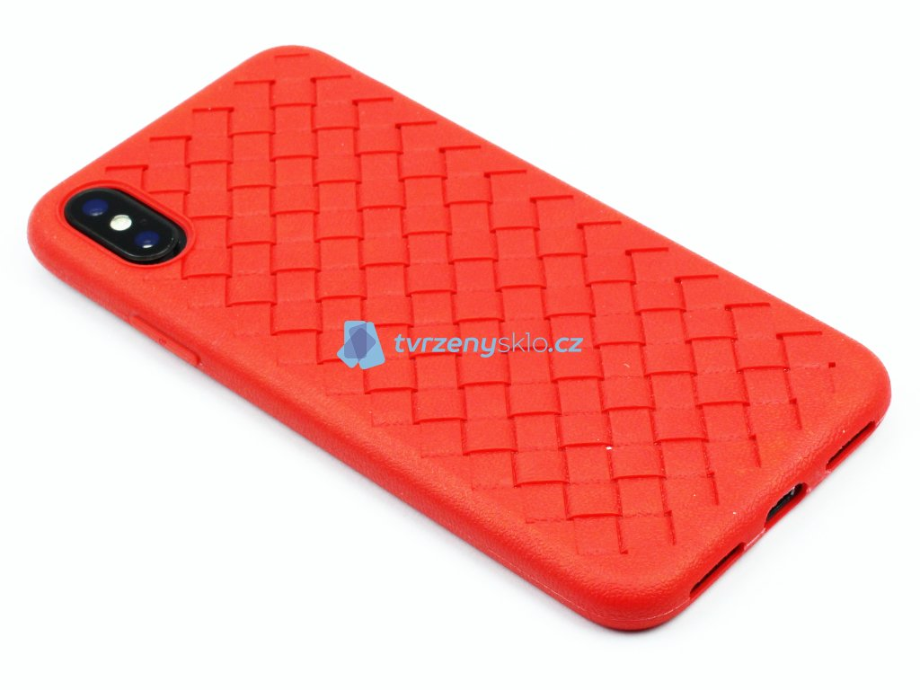 Gumový obal s vroubky na iPhone X,XS Červený 1
