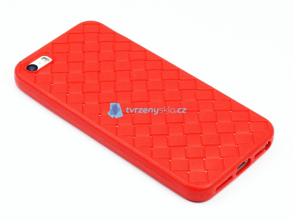 Gumový obal s vroubky na iPhone 5,5s,SE Červený 1