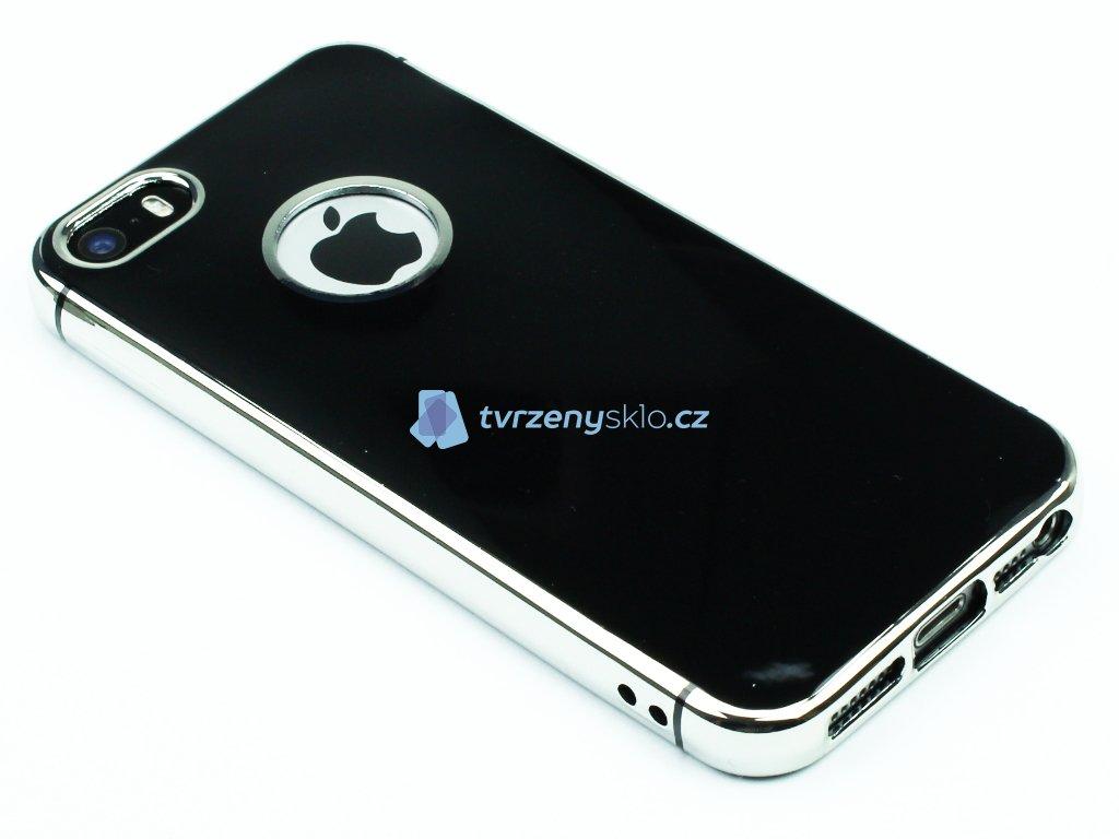 Lesklý, gumový obaly na iPhone 5,5S,SE Černý 1