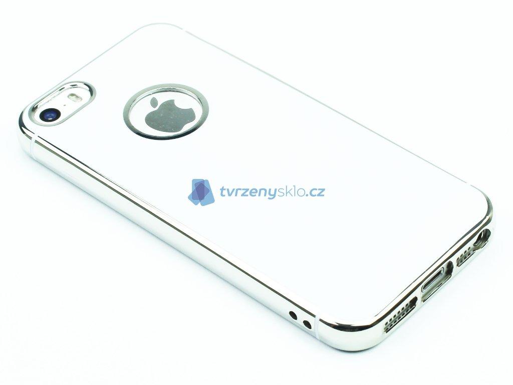Lesklý, gumový obaly na iPhone 5,5S,SE Stříbrný 1