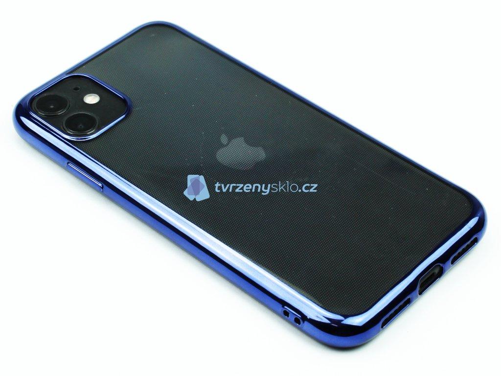 Gumový obal s lesklým rámečkem na iPhone 11 Modrý 1