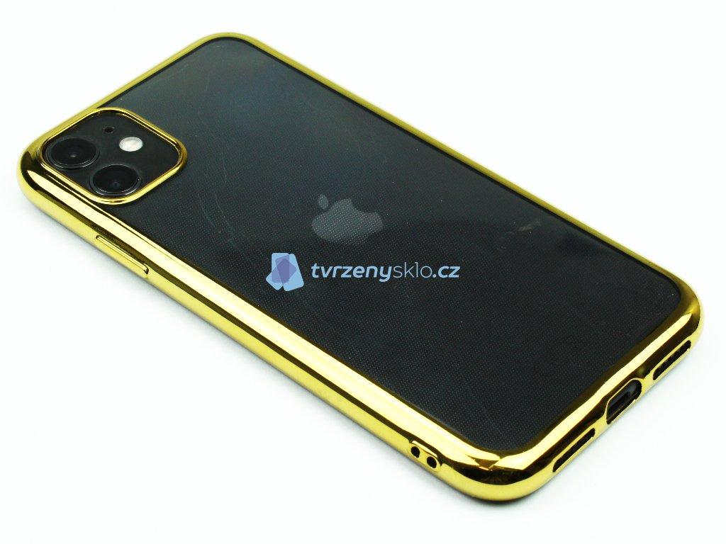 Gumový obal s lesklým rámečkem na iPhone 11 Zlatý 1