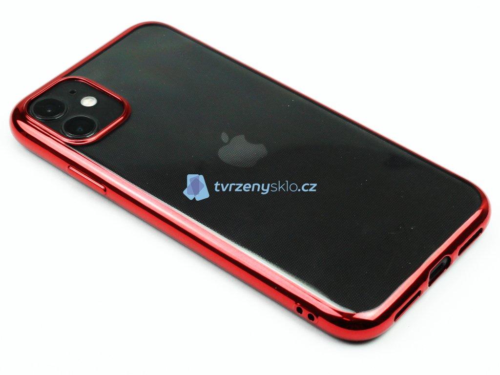 Gumový obal s lesklým rámečkem na iPhone 11 Červený 1