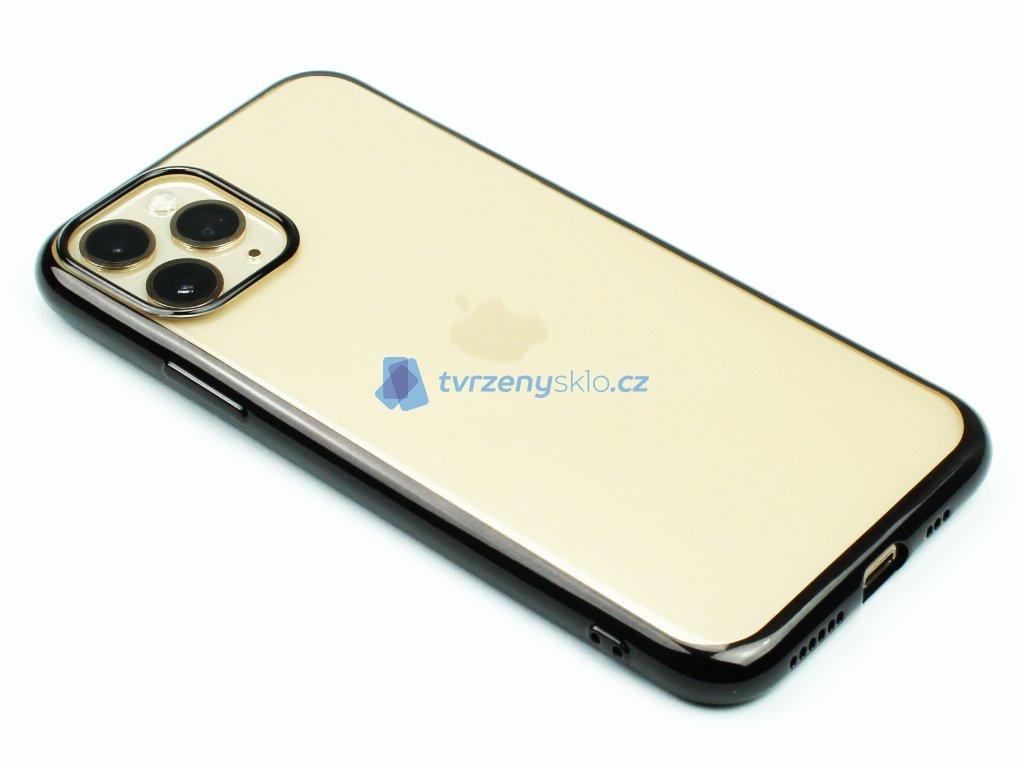 Gumový obal s lesklým rámečkem na iPhone 11 Pro Černý 1