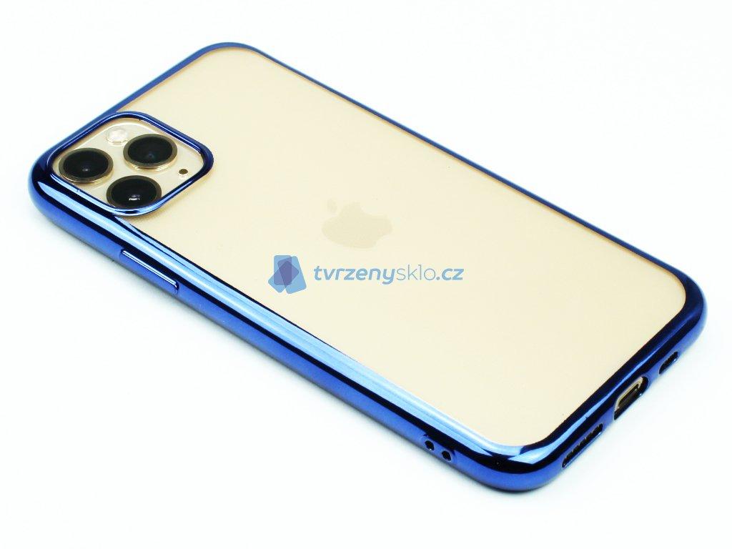 Gumový obal s lesklým rámečkem na iPhone 11 Pro Modrý 1