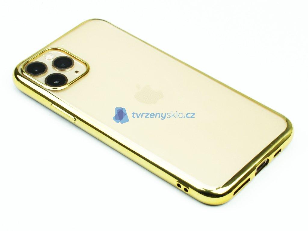 Gumový obal s lesklým rámečkem na iPhone 11 Pro Zlatý 1