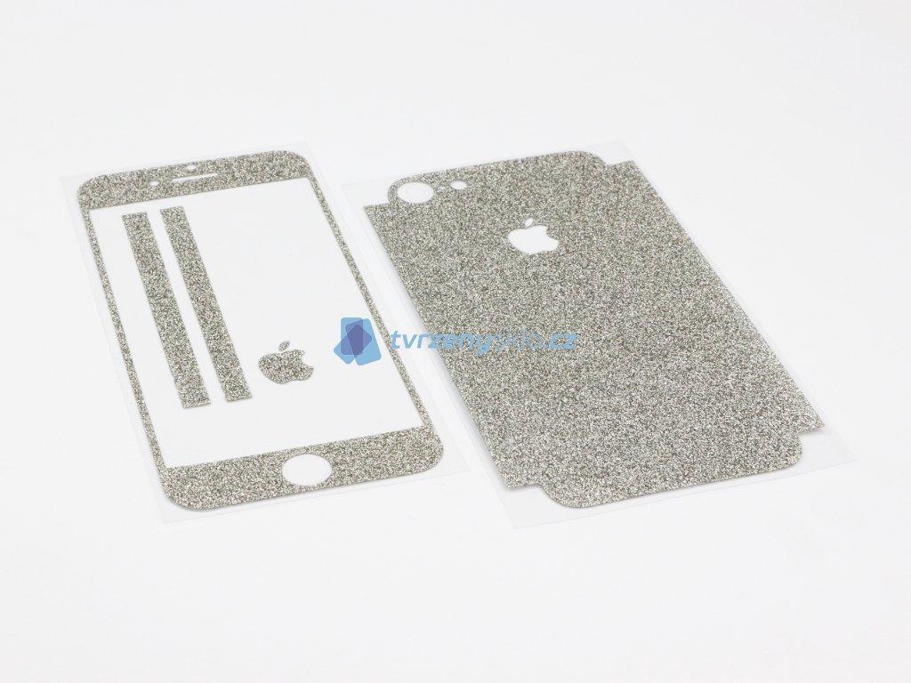 Třpytivá fólie 2v1 na iPhone 7,8 a iPhone SE 2020 Stříbrná