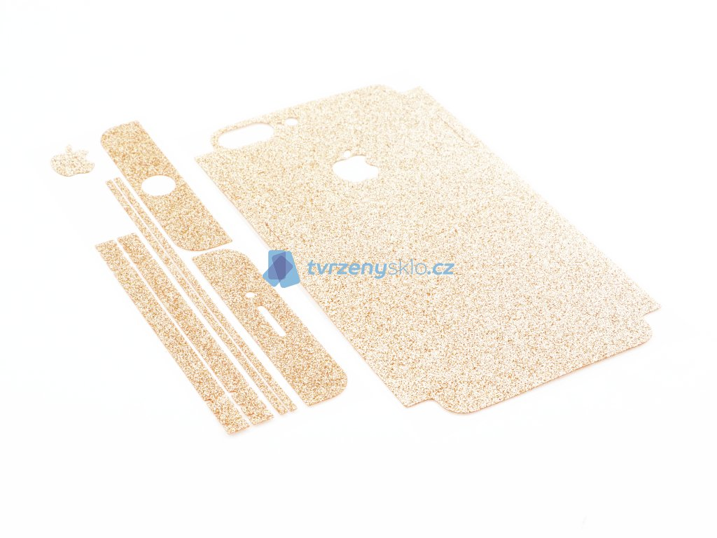 Třpytivá fólie 2v1 na iPhone 7 Plus, iPhone 8 Plus Zlatá