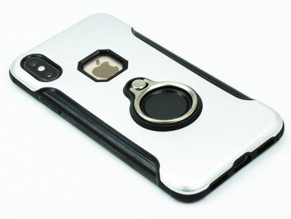 Odolný kryt s držákem pro iPhone X,XS Stříbrný