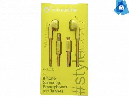 Sluchátka Cellularline BUTTERFLY, plochý kabel, 3,5 mm jack, žlutá