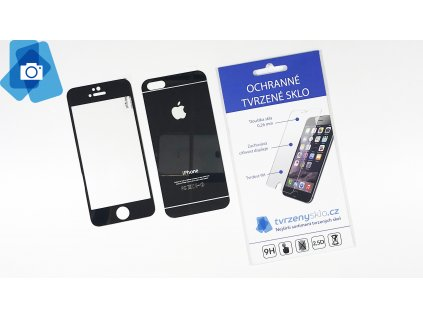 Oboustranné Barevné sklo iPhone 5 Černé