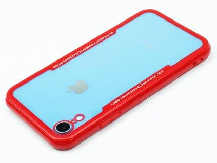 Průhledný obal s gumovým rámečkem pro iPhone XR Červený
