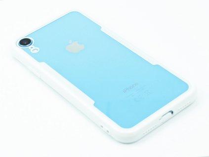 Průhledný obal s gumovým rámečkem pro iPhone XR Bílý