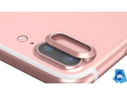 Tvrzené sklo na čočku fotoaparátu s ocelovým rámečkem pro iPhone 7,8 Plus Růžový