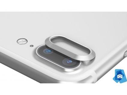 Tvrzené sklo na čočku fotoaparátu s ocelovým rámečkem pro iPhone 7,8 Plus Stříbrné