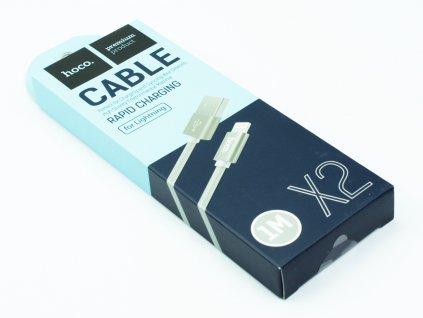Nabíjecí lightning kabel Hoco Knitted 1m, Šedý, HCA394