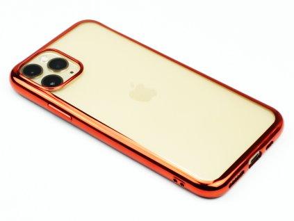 Gumový obal s lesklým rámečkem na iPhone 11 Pro Červený 1