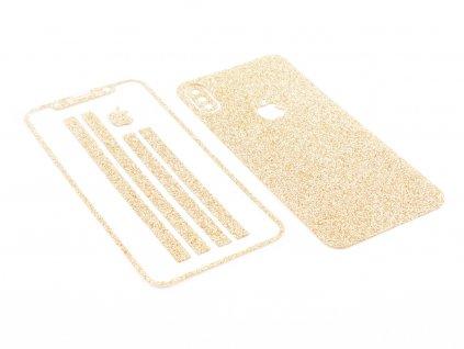Třpytivá fólie 2v1 na iPhone X, iPhone XS Zlatá 1