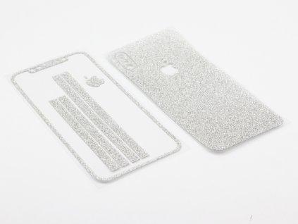 Třpytivá fólie 2v1 na iPhone X, iPhone XS Stříbrná 1