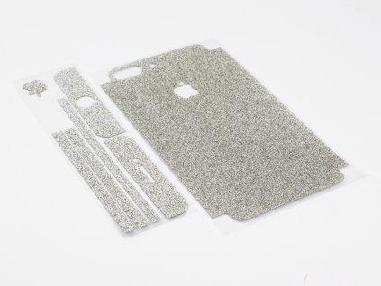 Třpytivá fólie 2v1 na iPhone 7 Plus, iPhone 8 Plus Stříbrný