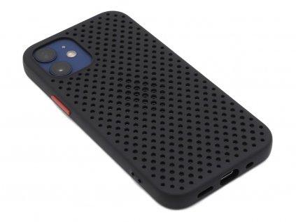 Děrovaný, gumový kryt na iPhone 12 Mini Černý 1