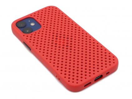 Děrovaný, gumový kryt na iPhone 12 Mini Červený 1