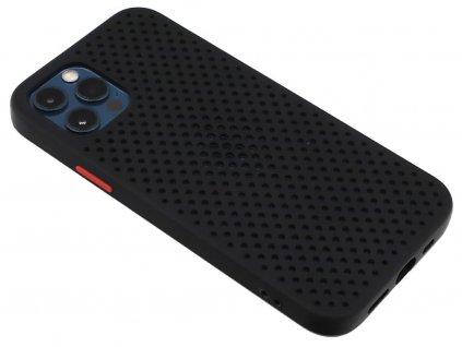 Děrovaný, gumový kryt na iPhone 12 Pro Max - Černý