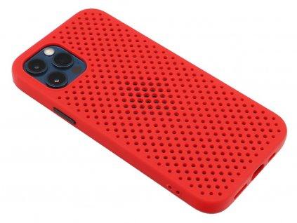 Děrovaný, gumový kryt na iPhone 12 Pro Max - Červený
