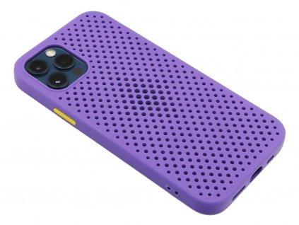 Gumový obal s dírkami na iPhone 12 (Pro) Fialový 1