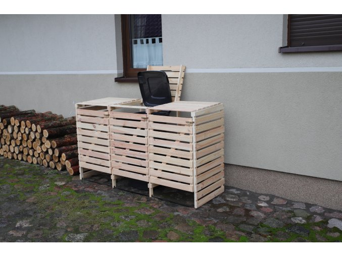 Dřevěný box na odpadové nádoby OBK-120L-3-BAREVNÉ VARIANTY