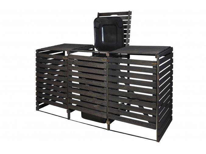 Dřevěný box na odpadové nádoby OBK-240L-3-BAREVNÉ VARIANTY