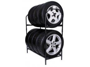 Regál na pneumatiky, černý , 8 x 235