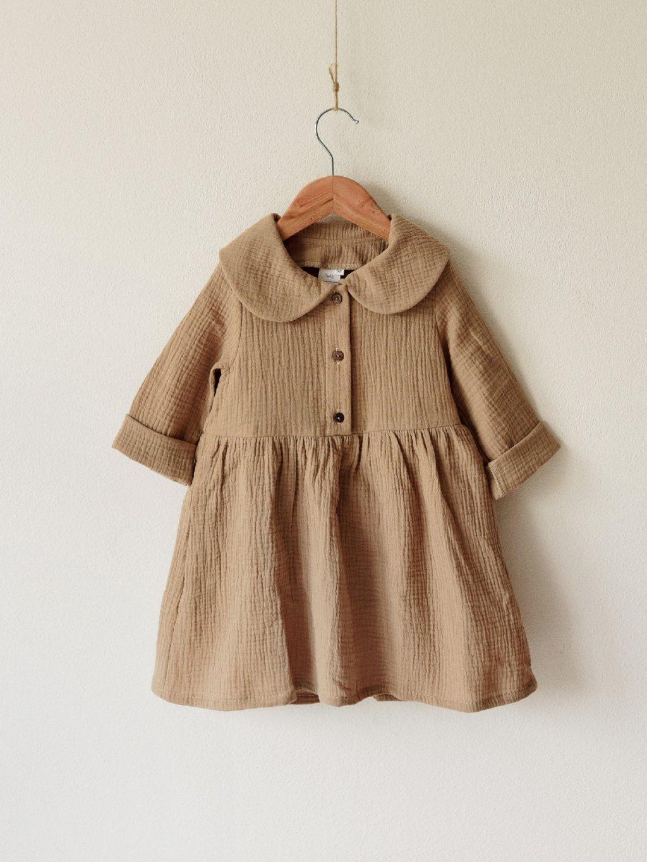 Detské bavlnené šaty s golierikom, dlhý rukáv