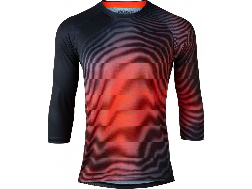 Specialized Demo 3/4 Sleeve Jersey Black / Rocket Red Refraction (Velikost S)