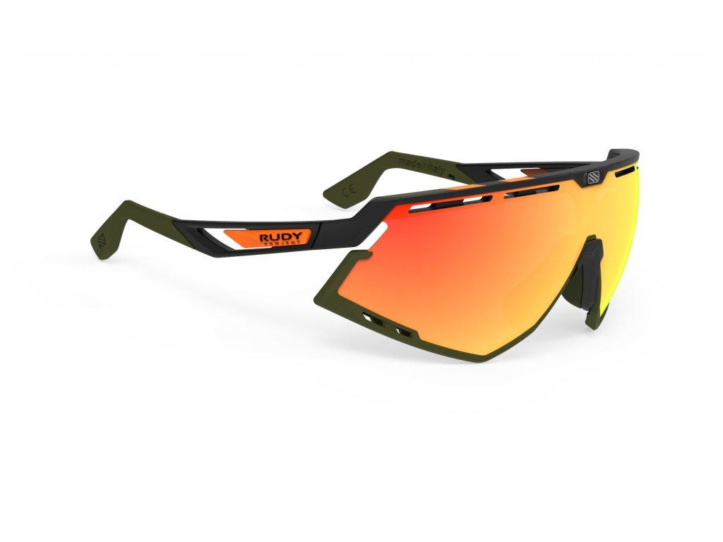 Brýle DEFENDER - Stripes Black Matte/Black/Multilaser Orange