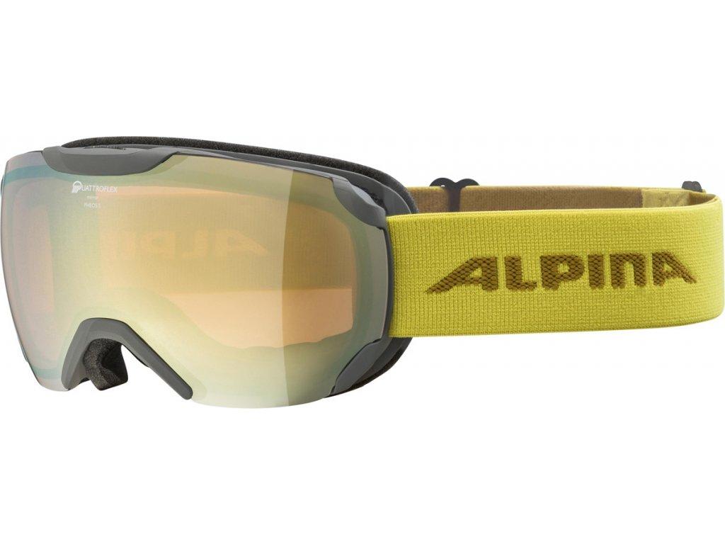 Lyžařské brýle Alpina Pheos S QHM - grey/curry