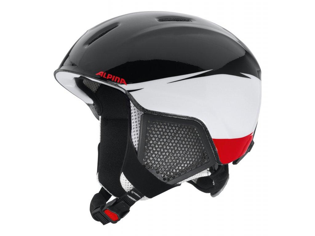 Dětská lyžařská helma Alpina Carat LX - black/white/red