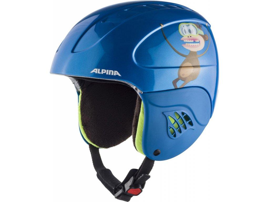 Dětská lyžařská helma Alpina Carat - blue/monkey