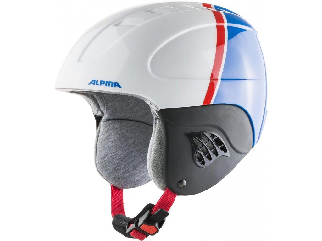 Dětská lyžařská helma Alpina Carat - white/red/blue