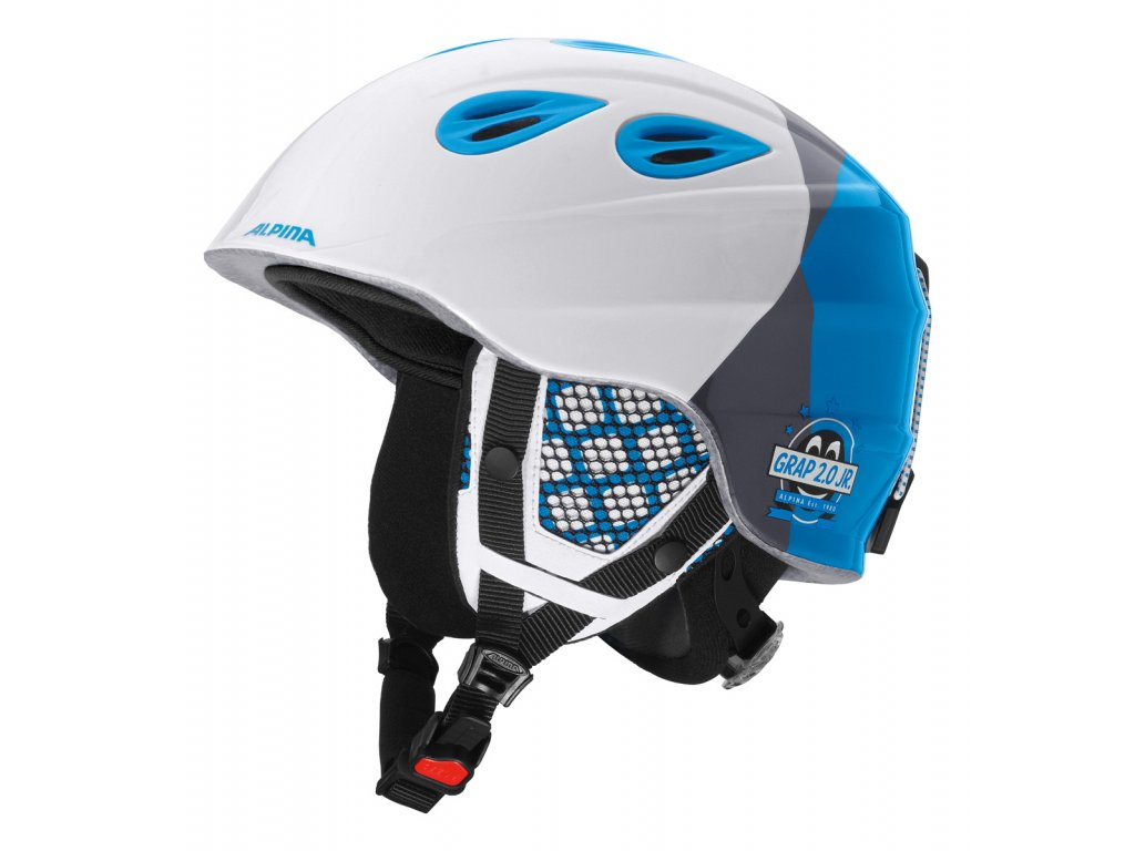 Dětská lyžařská helma Alpina Grap 2.0 Junior - white/silver/blue matt