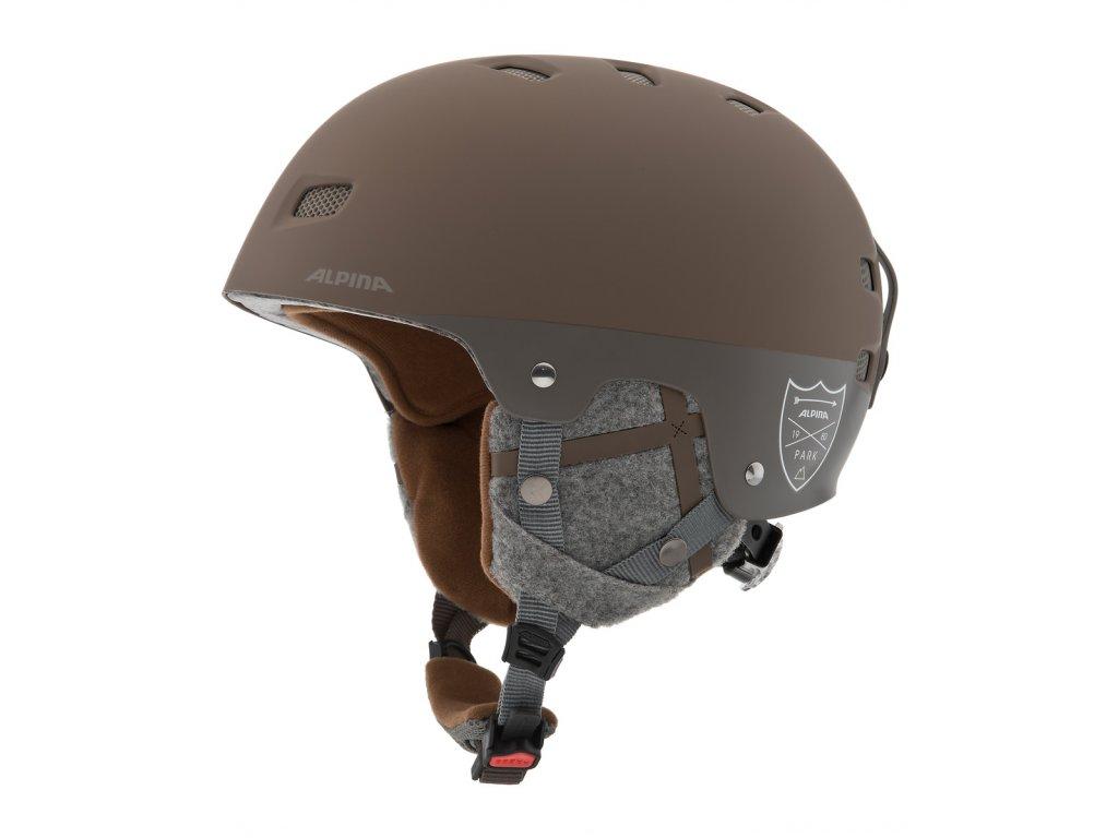 Lyžařská helma Alpina Park Pro - brown matt