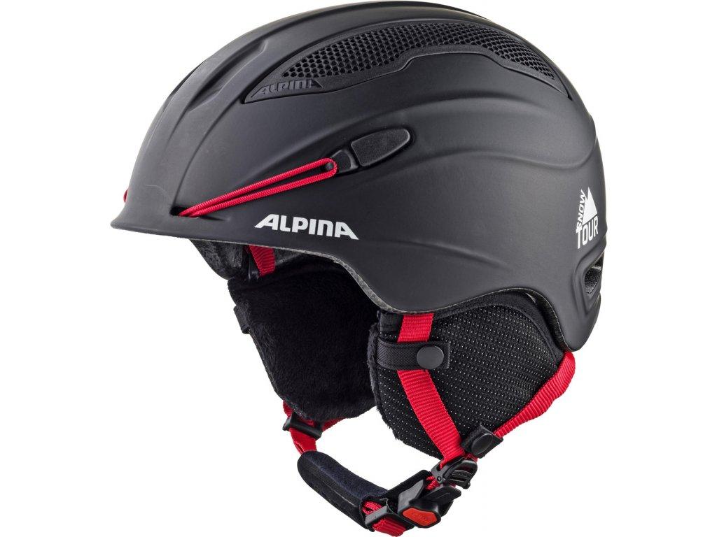 Lyžařská helma Alpina Snow Tour - black/red matt