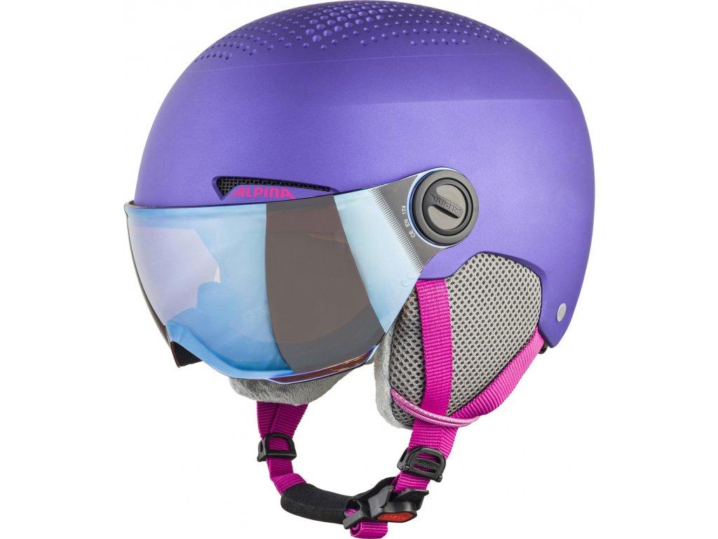 Dětská lyžařská helma Alpina Zupo Visor - violet matt