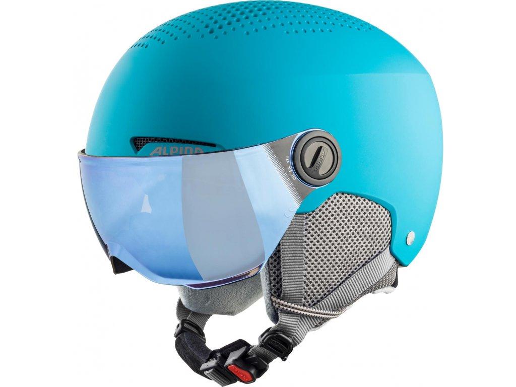 Dětská lyžařská helma Alpina Zupo Visor - turquoise matt