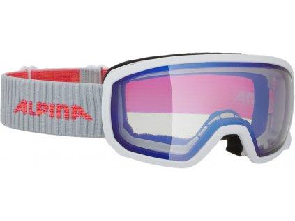 Juniorské lyžařské brýle Alpina Scarabeo JR VM - white/flamingo