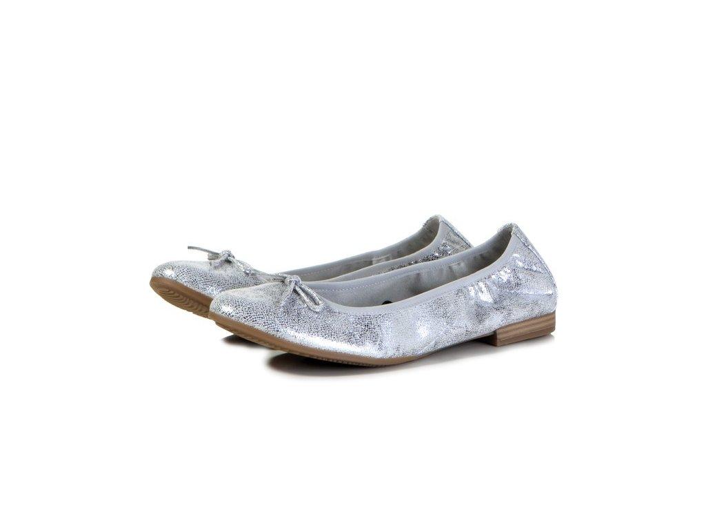 Tamaris Baleríny stříbrné metalické s mašličkou