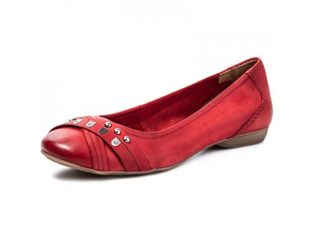 Tamaris Červené baleríny zdobené