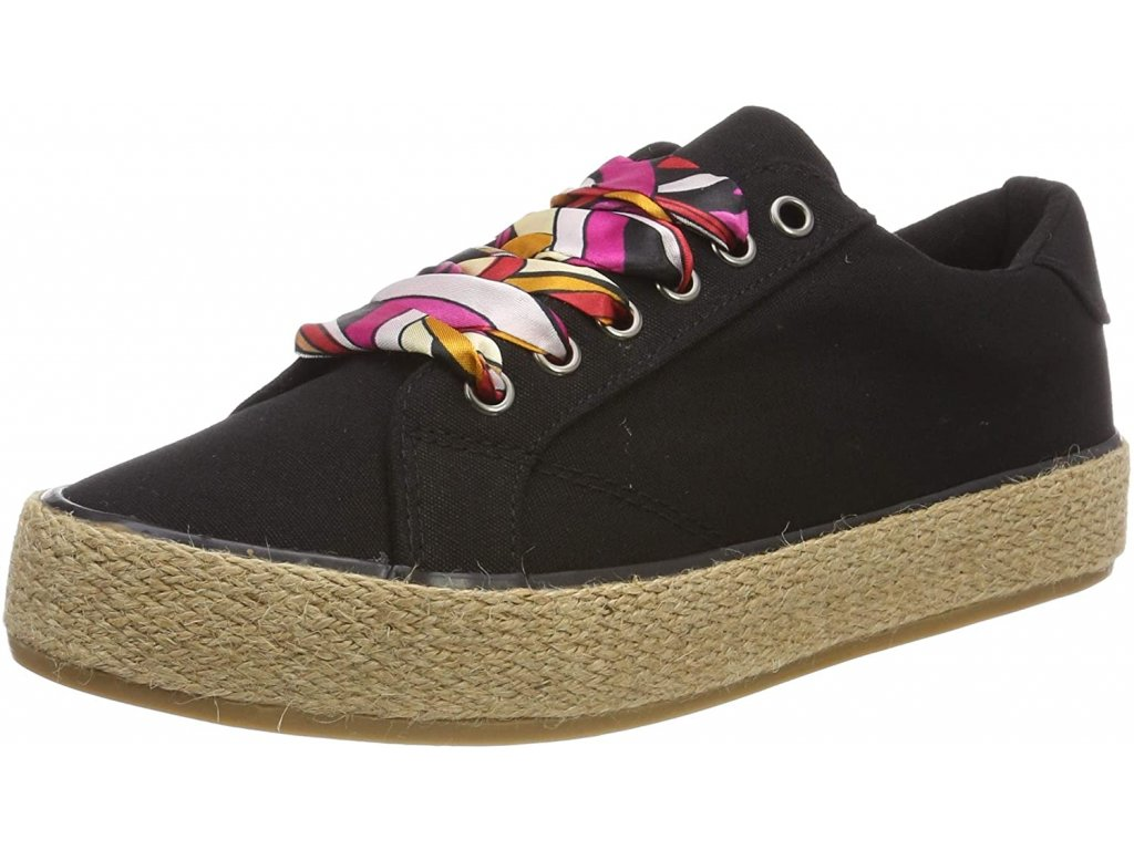 Tamaris Černé tenisky zdobené barevnou mašlí na lisované plarformě